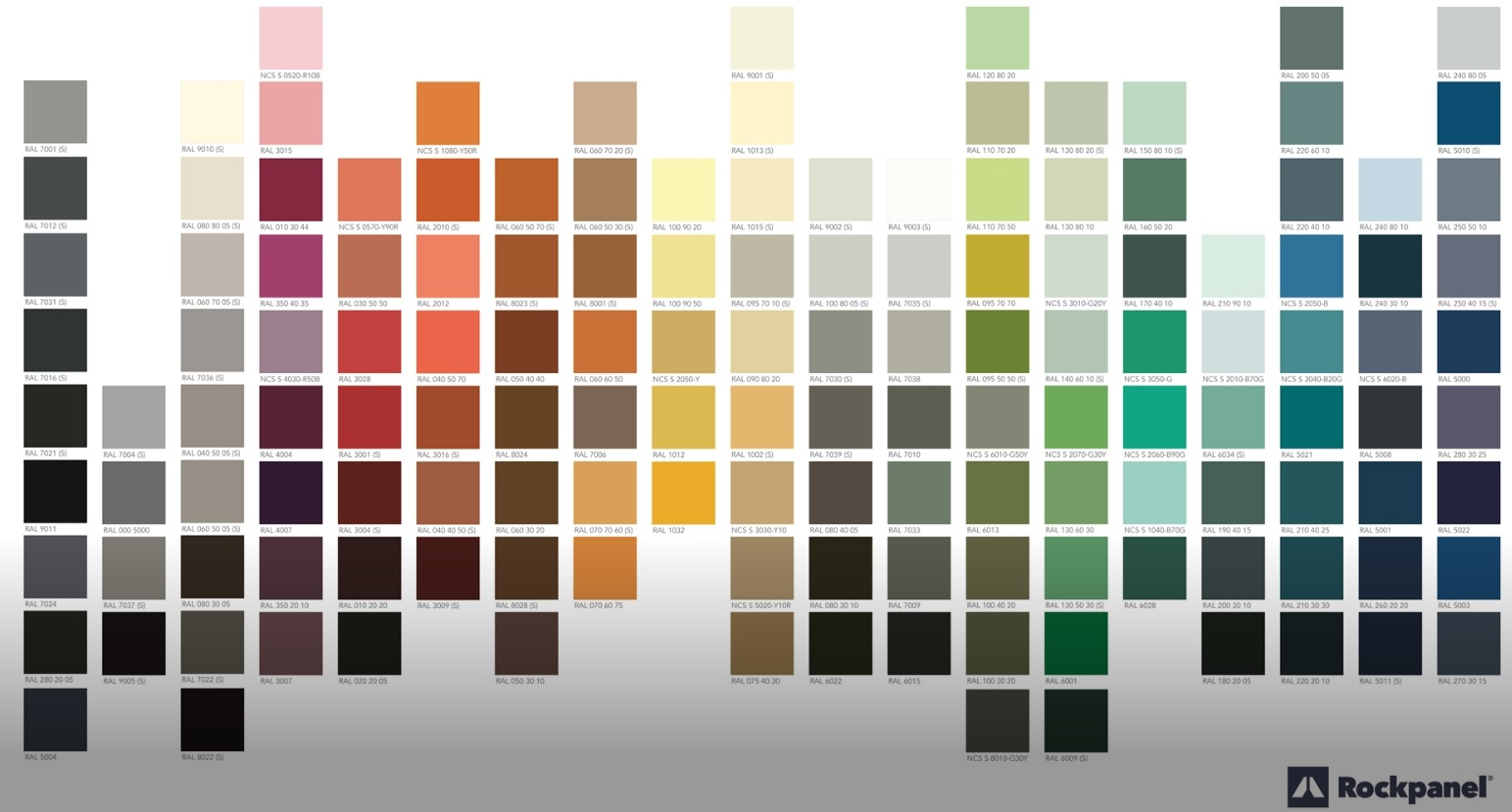 Rockpanel Colours panel met 144 kleuren